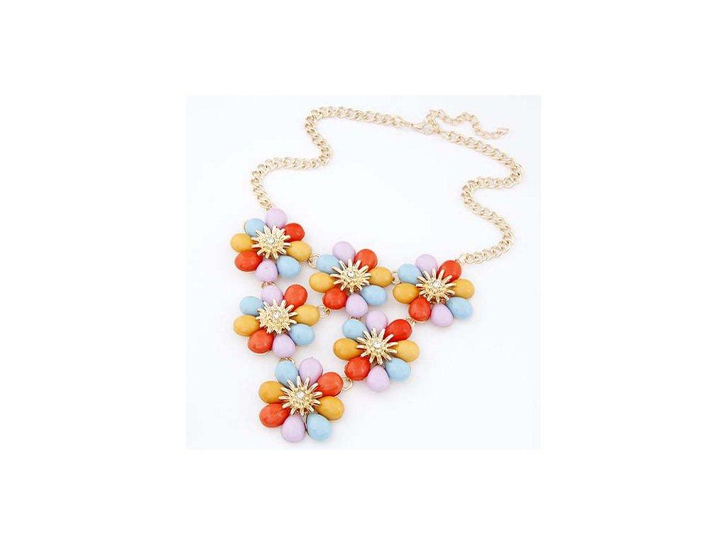 b7da43e58 Farebný náhrdelník s kvetinami | ZAZZA