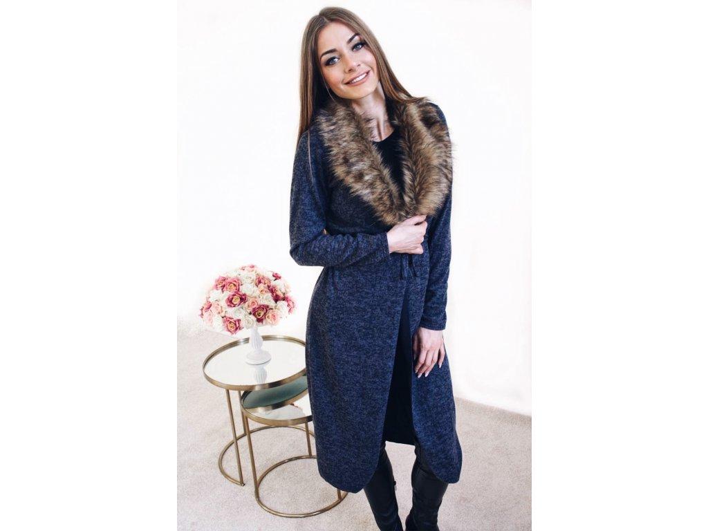 3bf3064c6669 Dlhý sveter s kožušinou v modrej farbe
