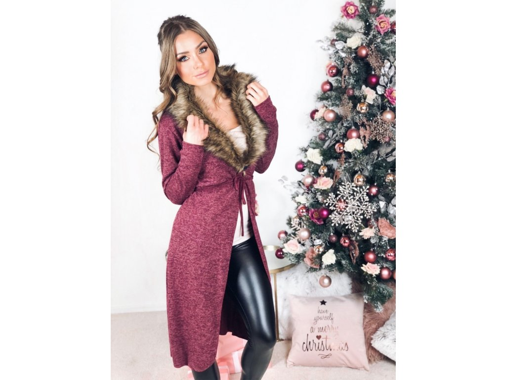 Dlhý sveter s kožušinou v bordovej farbe  a8e3b016a4c