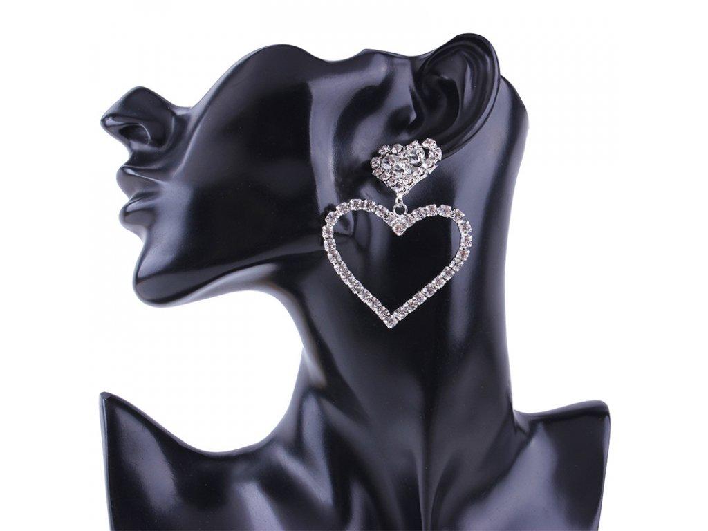 e6e6c3de6 Strieborné štrasové náušnice Heart | ZAZZA