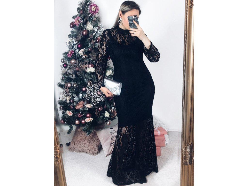 aa97d2ecc30 Dlhé elegantné čierne čipkované šaty