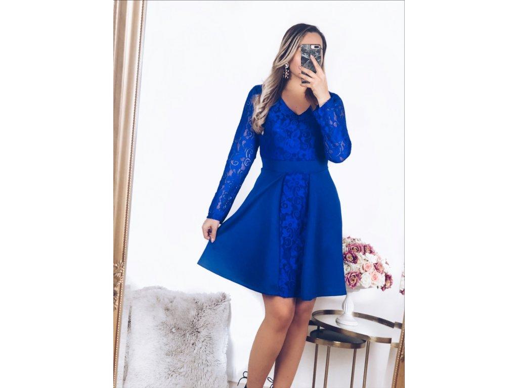 Modré čipkované šaty s dlhým rukávom  9914de1fdc4