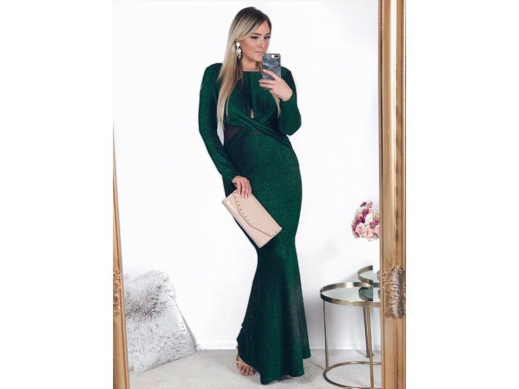 Dlhé zelené šaty s odhaleným chrbtom  61cc587bfbc