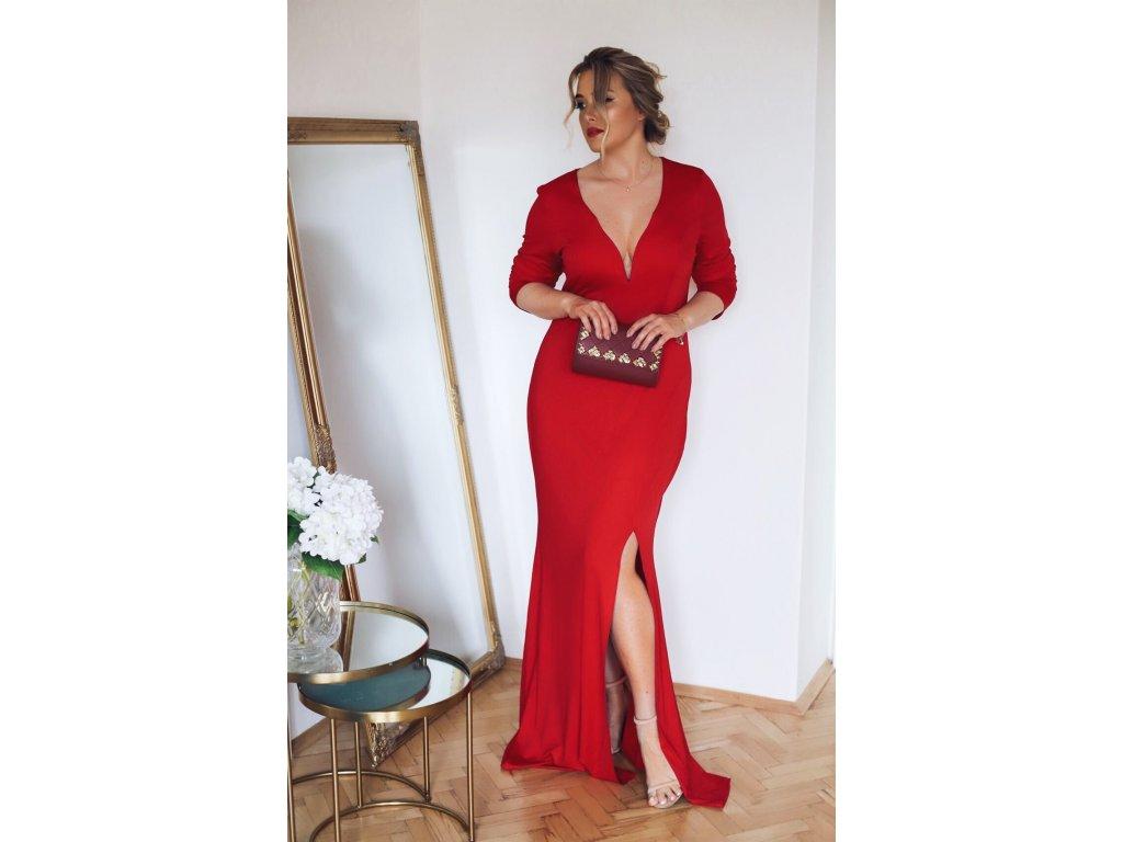 Maxi červené spoločenské šaty s hlbokým výstrihom  d022af1f102