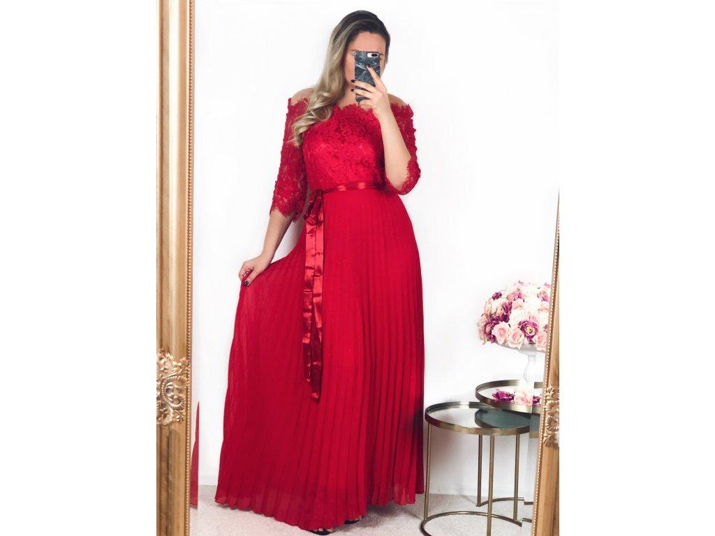 ef8286229315 Červené spoločenské šaty s čipkovaným vrchom