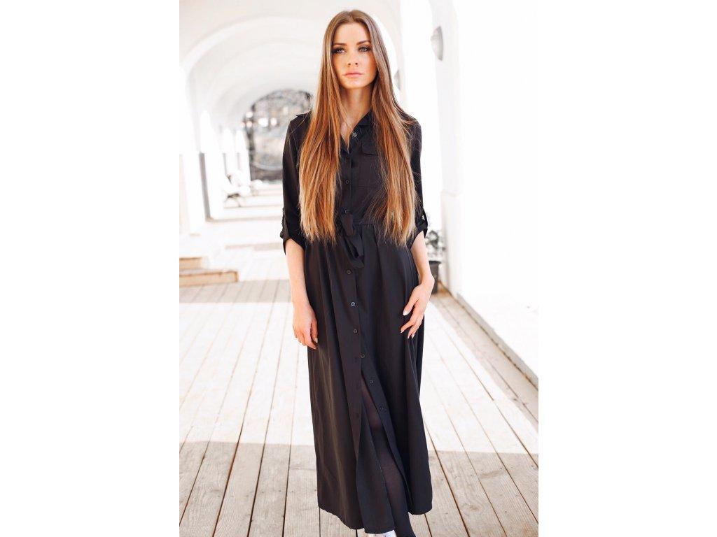 01ad706bf Dlhé čierne košeľové šaty | ZAZZA