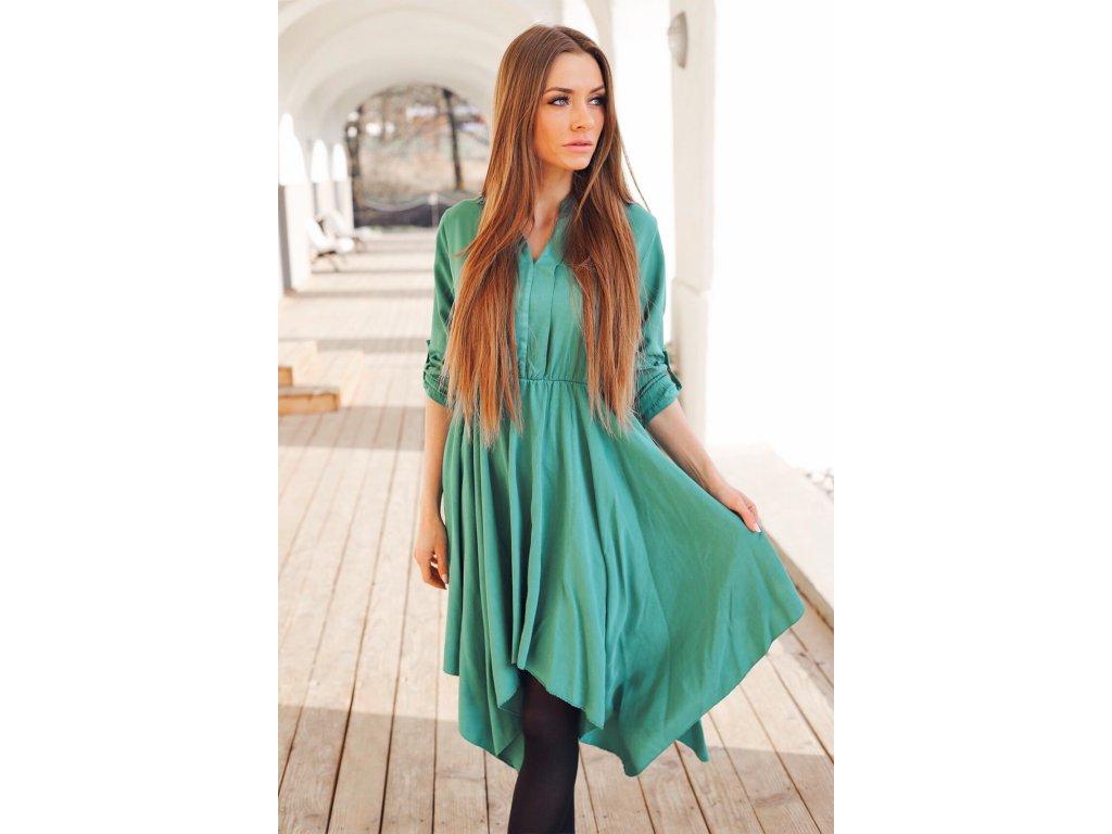 f95109c013 Zelené košeľové šaty trojštvrťovým rukávom