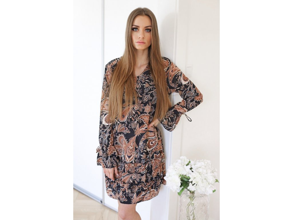 593d984dc Hnedé voľné šaty s dlhým rukávom | ZAZZA