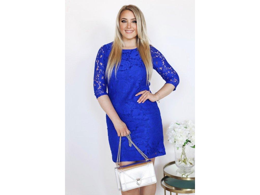 b9abce7a8607 Modré čipkované šaty s trojštrvťovým rukávom