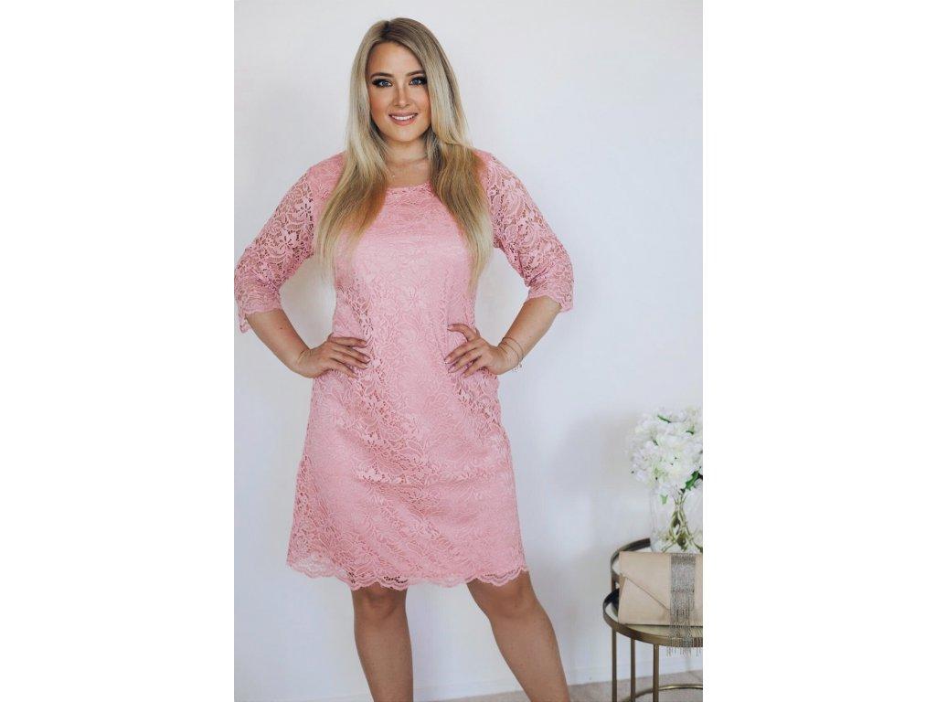 f01d2376c5 Elegantné dámske šaty s čipkou - broskyňová