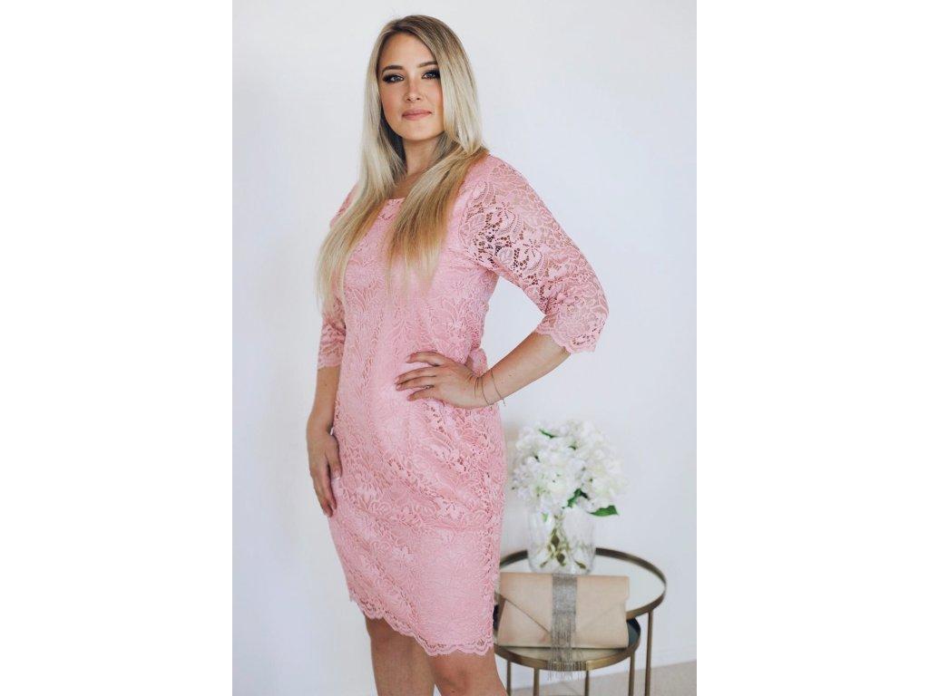 e53ca8d33f Elegantné dámske šaty s čipkou - broskyňová ...