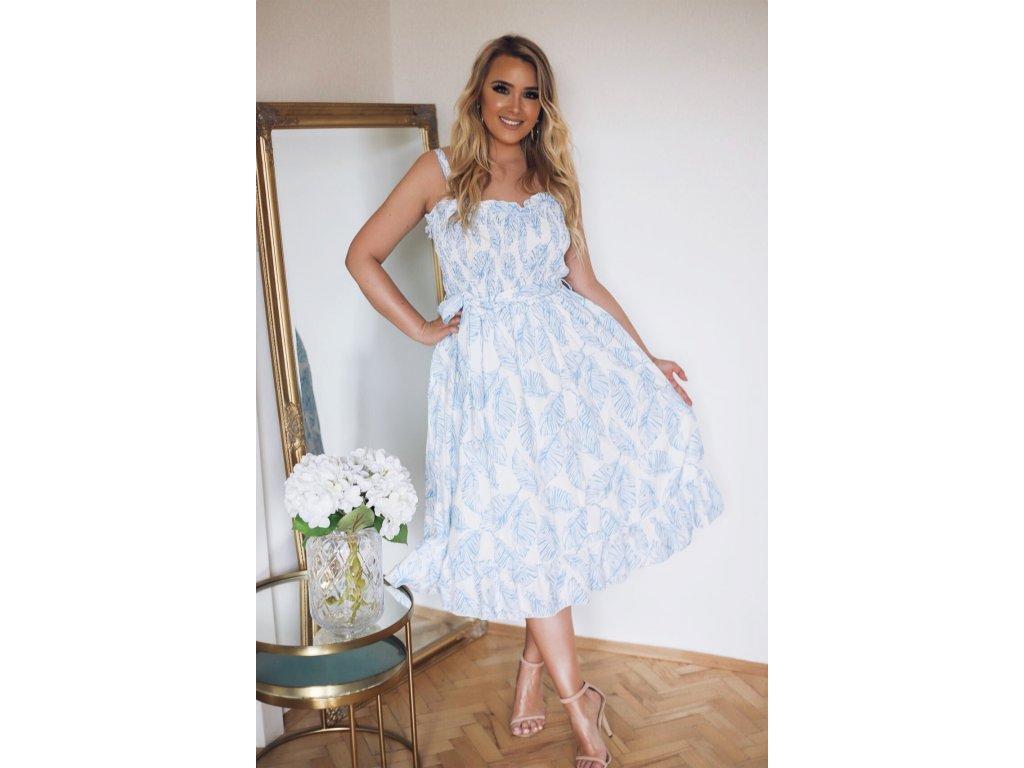 6bee7e091 Biele kvetinové šaty na ramienka s opaskom | ZAZZA