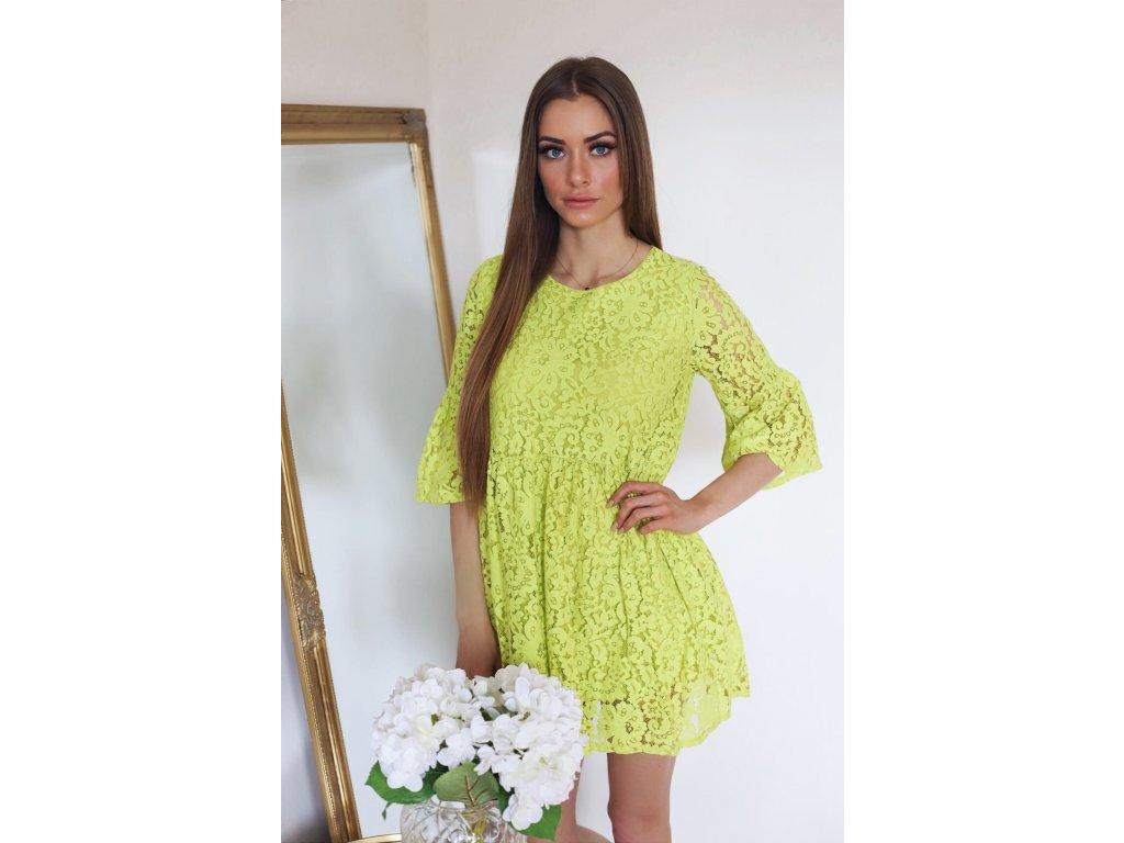 1dd59519494a Neónovo-zelené čipkované šaty