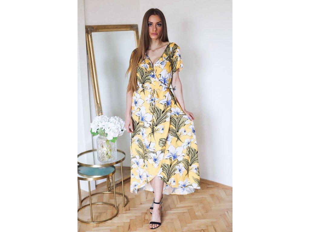 62ebe23eb978 Dlhé žlté kvetinové šaty s krátkym rukávom