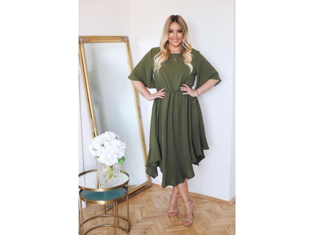 02e2b4554 Voľné zelené šaty s krátkym rukávom | ZAZZA