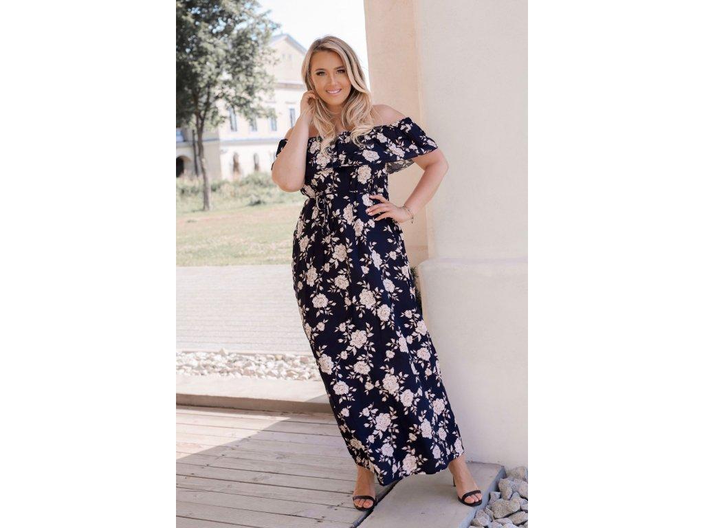 Dlhé kvetinové šaty v tmavo-modrej
