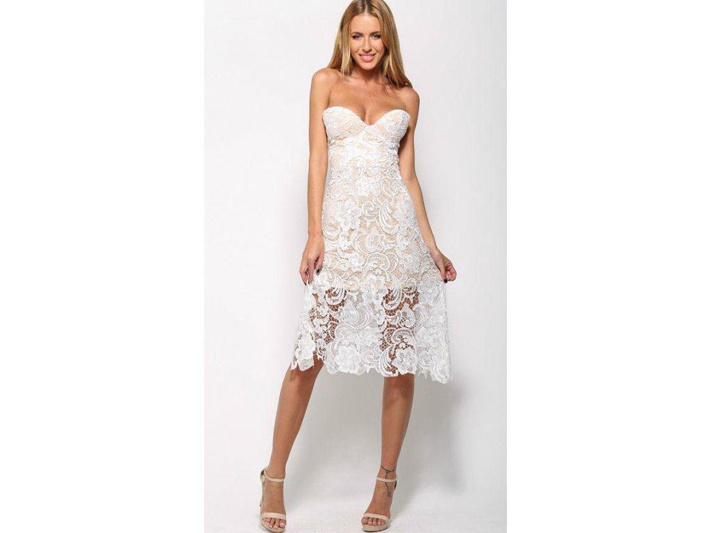 Bielo-vanilkové čipkované šaty  90473d9fb05