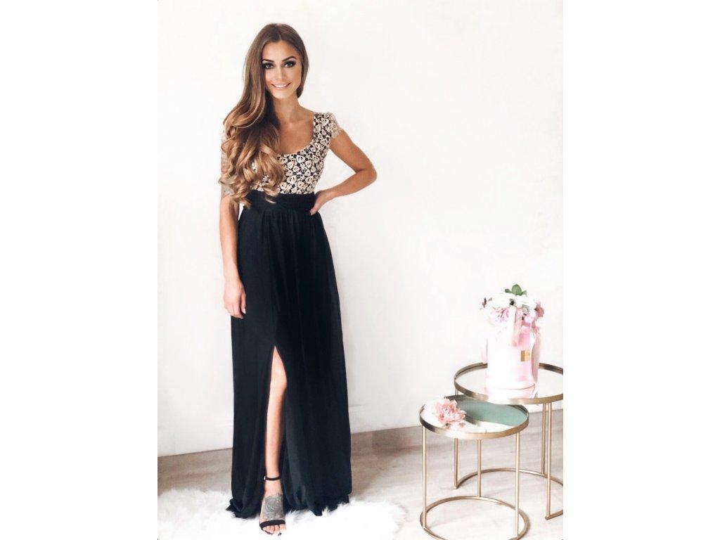 e1eb9fff4f Dlhé spoločenské šaty s čiernou sukňou