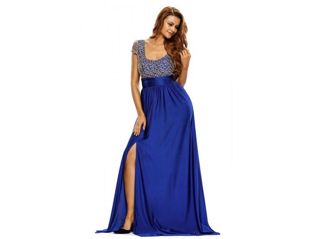 Dlhé spoločenské šaty s modrou sukňou  3b327af7af0