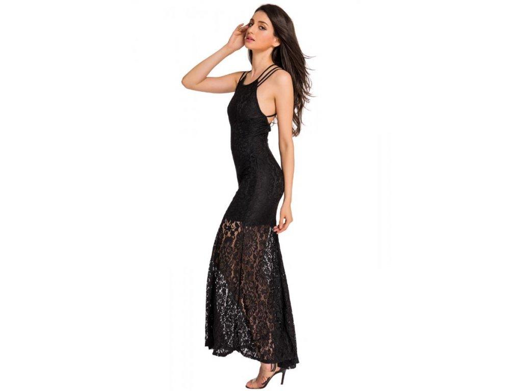 adb59ae5f7 Elegantné čierne dlhé šaty s odhaleným chrbtom. 1 z 5. 4a 4b 4c 4d