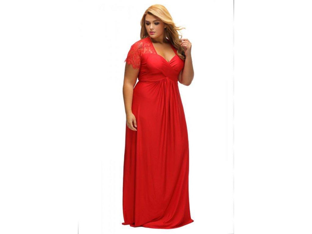 ... Dlhé červené spoločenské šaty s krajkou na rukávoch ... 9a1739ed0cb