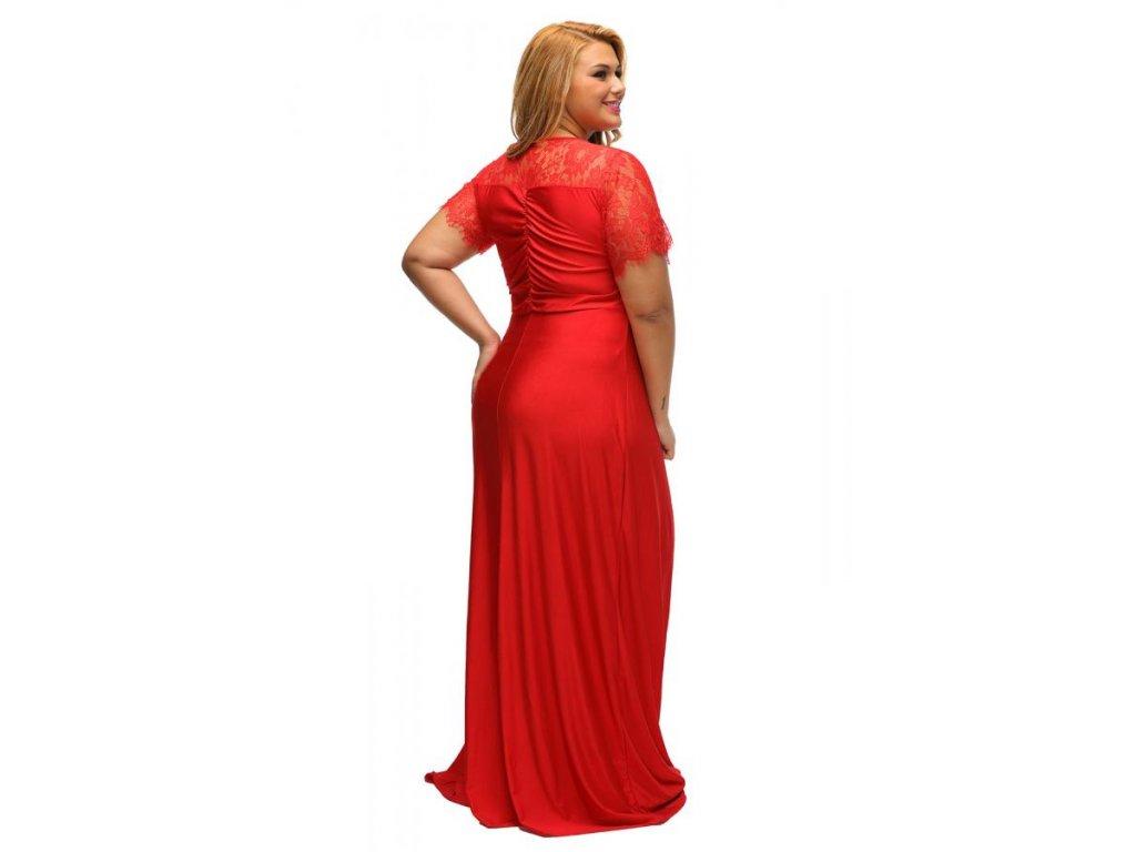 daea27144d19 ... Dlhé červené spoločenské šaty s krajkou na rukávoch