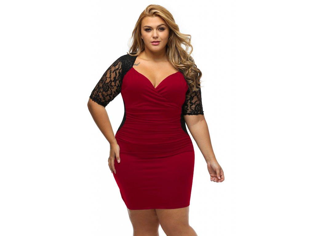 f57d33340684 Black Burgundy Ruched Lace Illusion Plus Dress LC61318 3 3