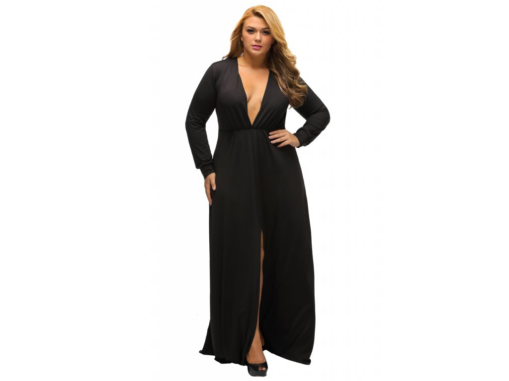 37fb03aa47 Black Long Sleeve Deep V neck Long Plus Dress with Slit LC61370 2 3 ...