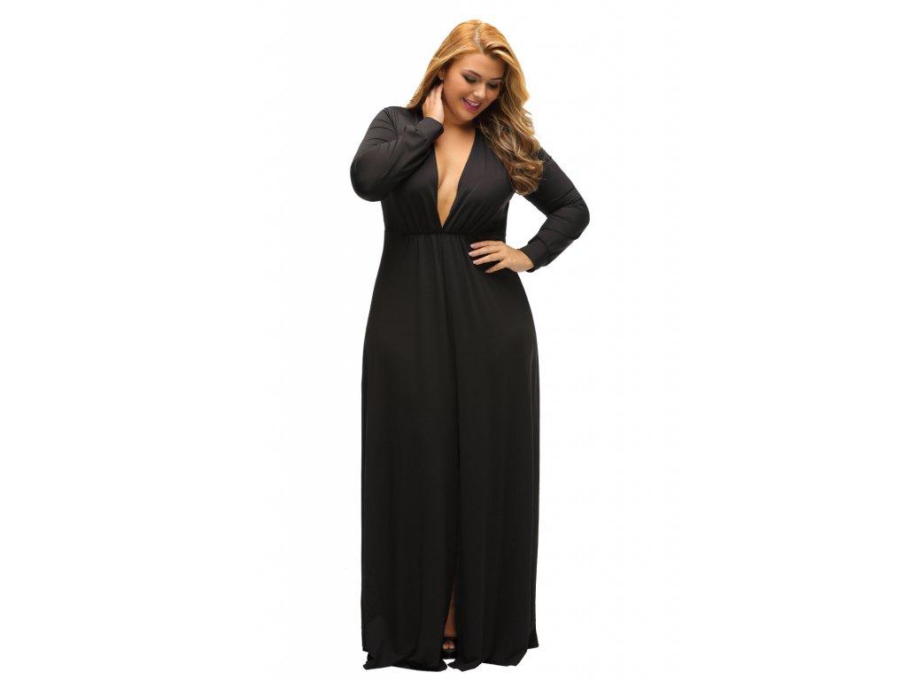 799041959c9f Black Long Sleeve Deep V neck Long Plus Dress with Slit LC61370 2 1