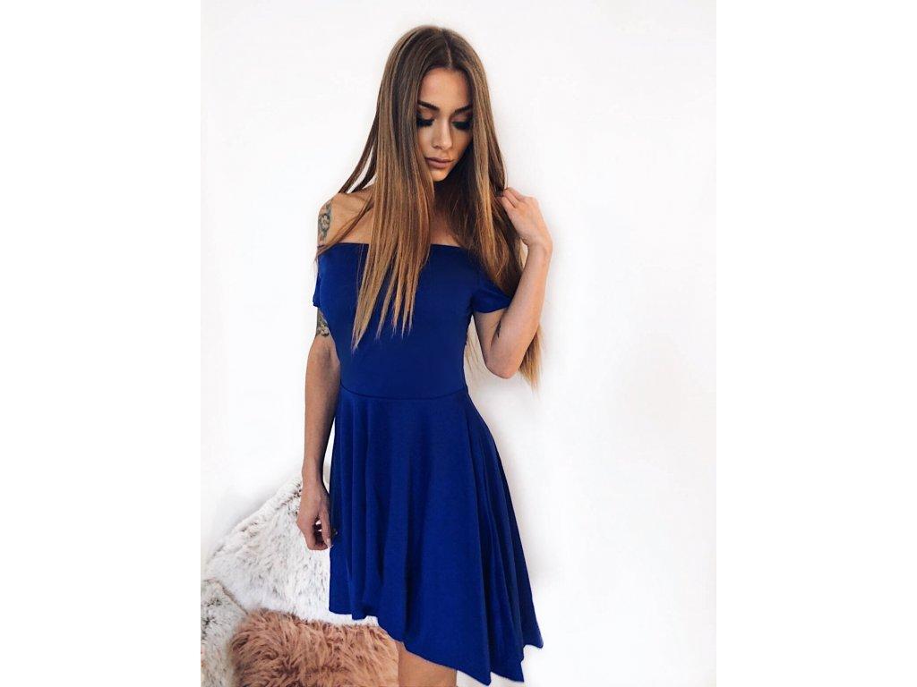 0c66c209f310 Asymetrické koktejlové šaty v modrej