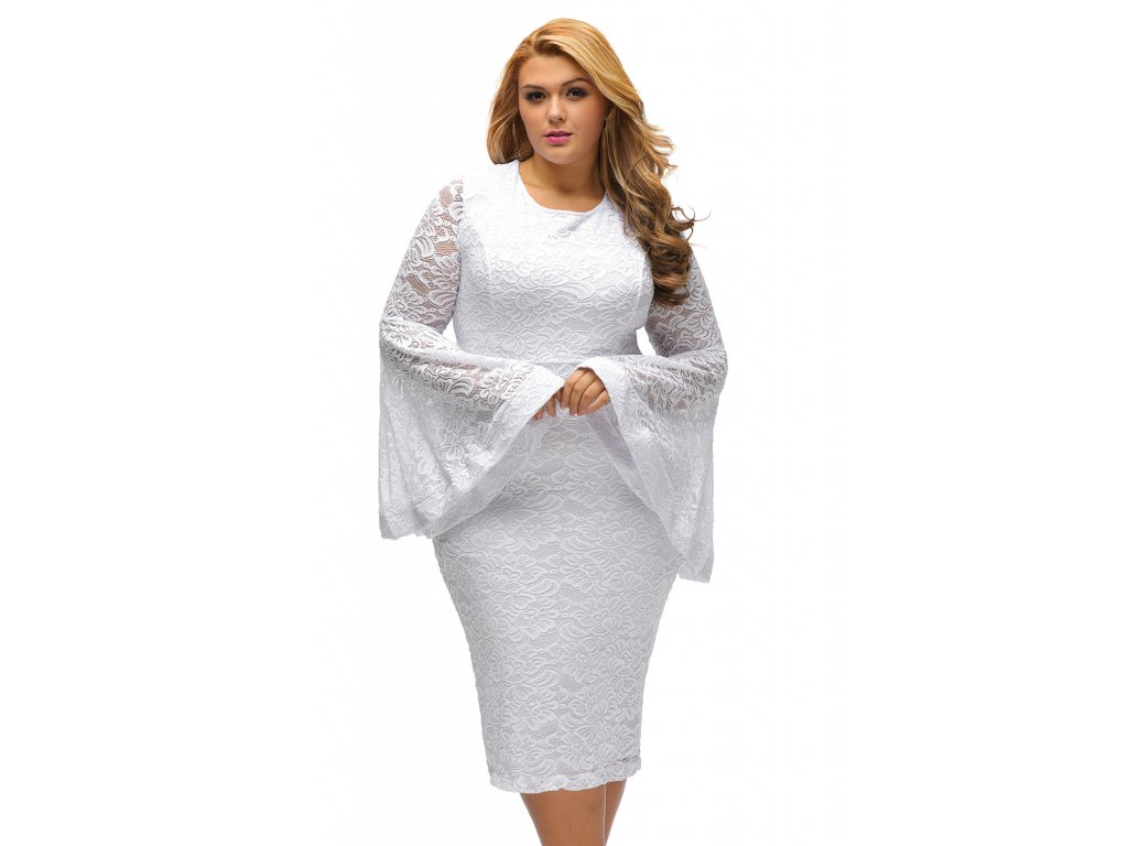 15683041f922 White Plus Size Bell Sleeves Lace Dress LC61396 1 4