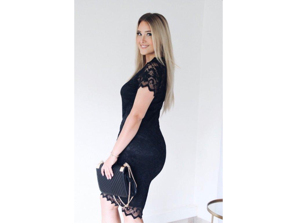 ec85bfd9b6bf ... Čierne čipkované šaty pod kolená ...