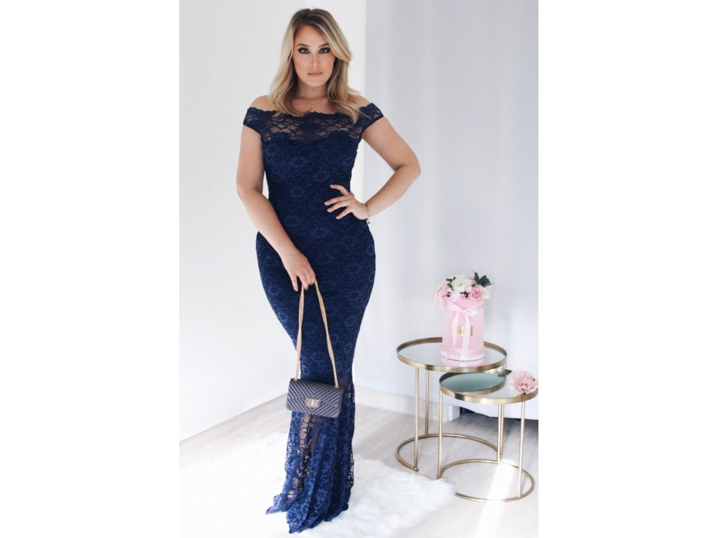 eb609c05d786 Dlhé tmavo-modré čipkované šaty