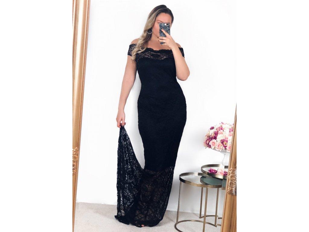 5b1f8e078597 Dlhé čierne čipkované šaty