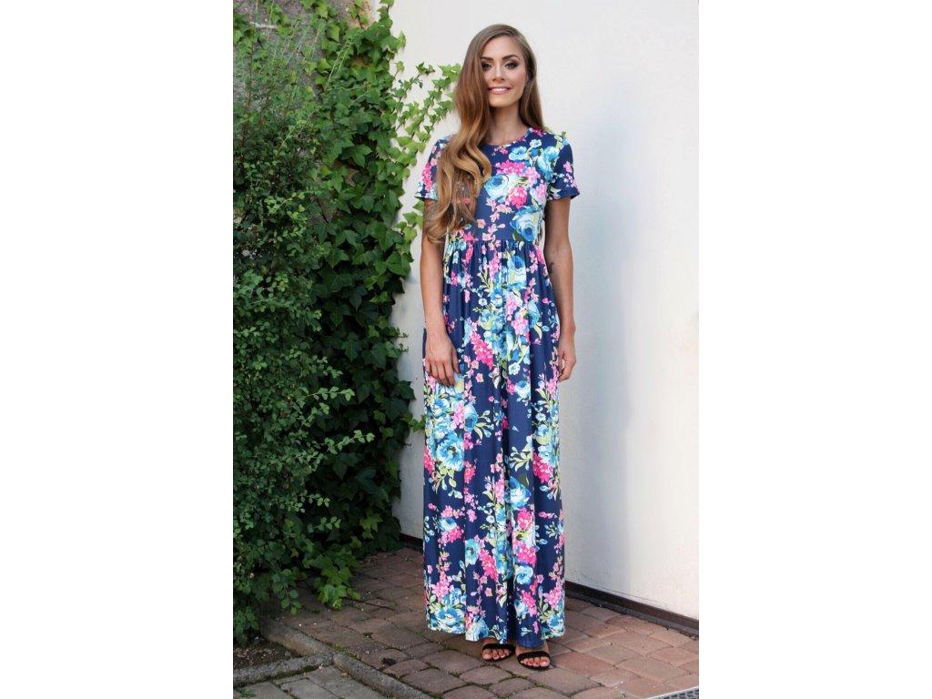 ebc3b9d37 Letné tmavo-modré dlhé šaty | ZAZZA