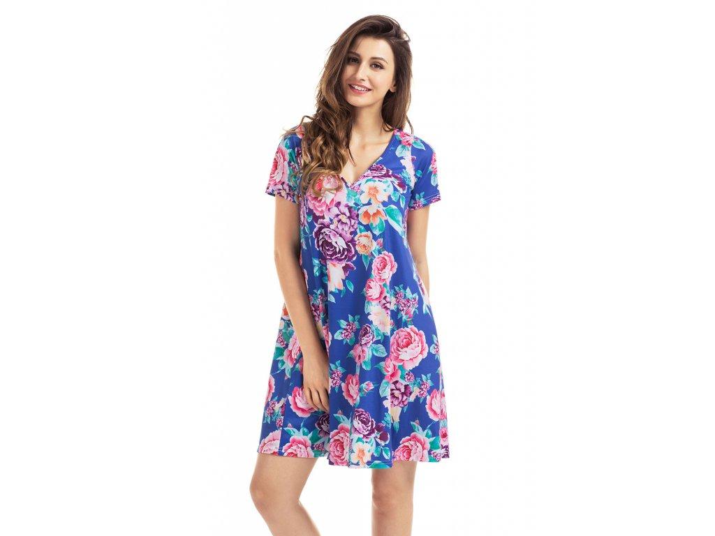 Royal Blue Pocket Design Summer Floral Shirt Dress LC220016 4 1 0f25bc8fc06