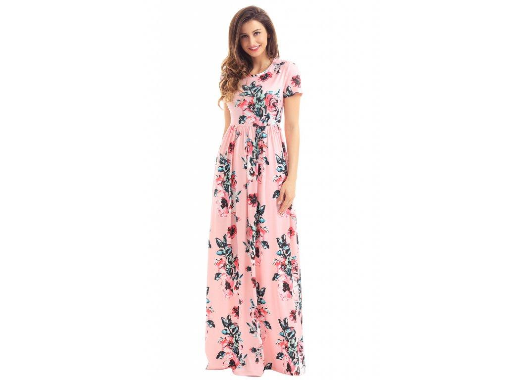 ... Letné ružové dlhé šaty adcce1875b4