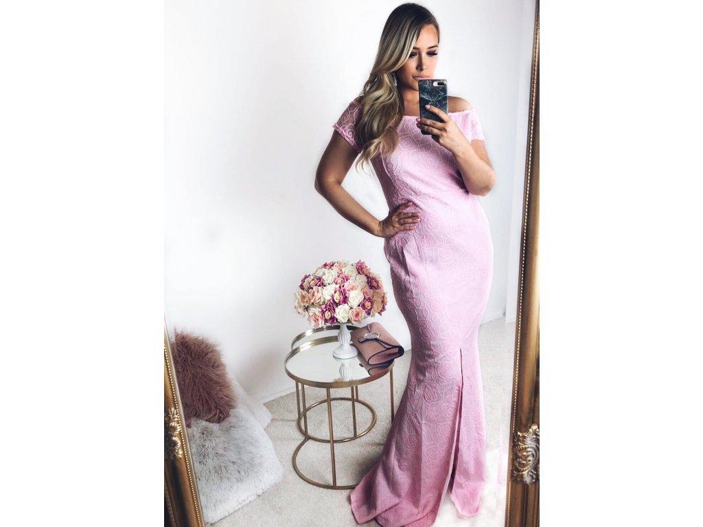 Dlhé ružové čipkované šaty  b7afd6c12ab