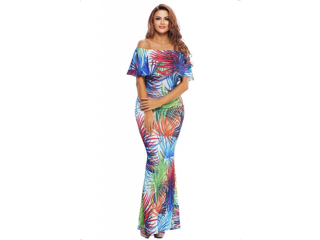 Dlhé maxi šaty s tropickým vzorom  69afff69d6e