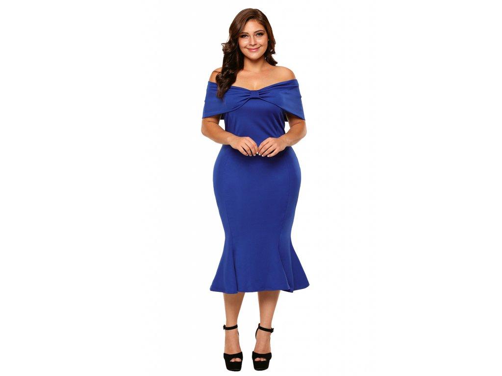 51397b264 Šaty pre moletky. 1 z 4. Elegantné modré šaty pod kolená ...