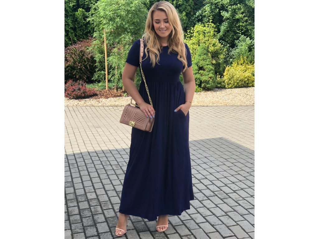 Tmavo-modré dlhé šaty s krátkym rukávom  118ce608e6