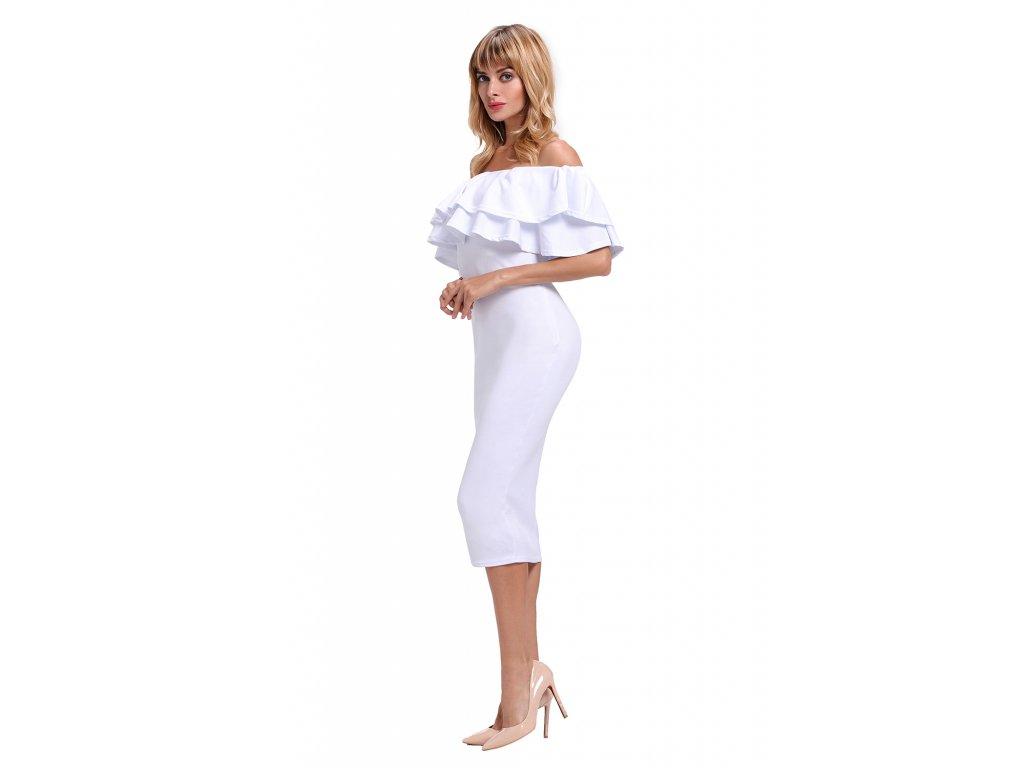 2ec7b918c3bb Biele elegantné šaty s odhalenými ramenami Biele elegantné šaty s odhalenými  ramenami ...