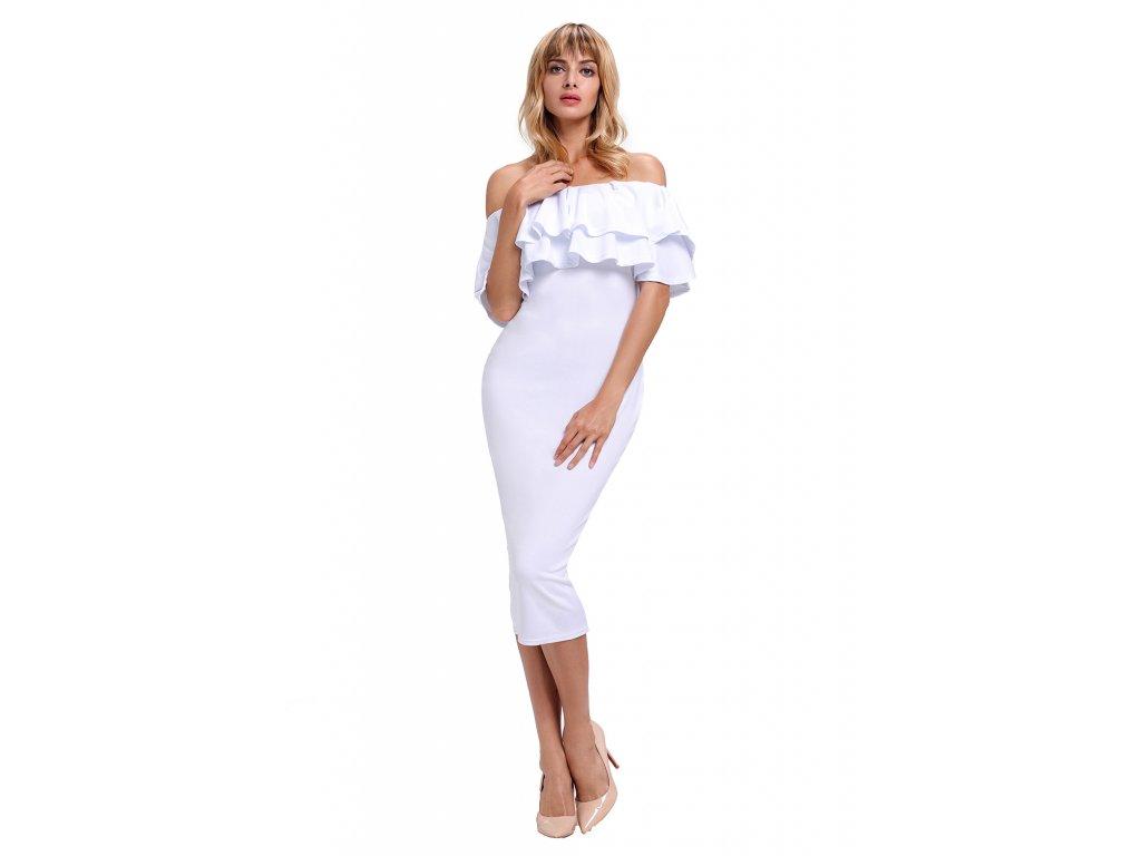 b0a3f1bb0251 Biele elegantné šaty s odhalenými ramenami