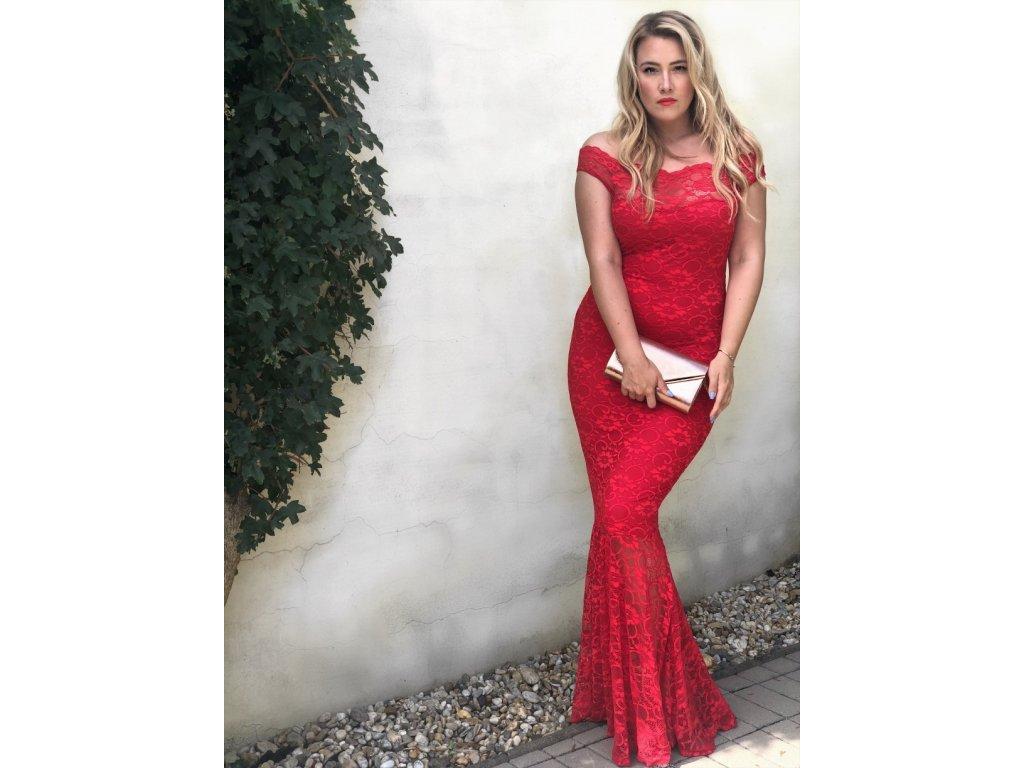 Dlhé červené čipkované šaty  b1f842e7246