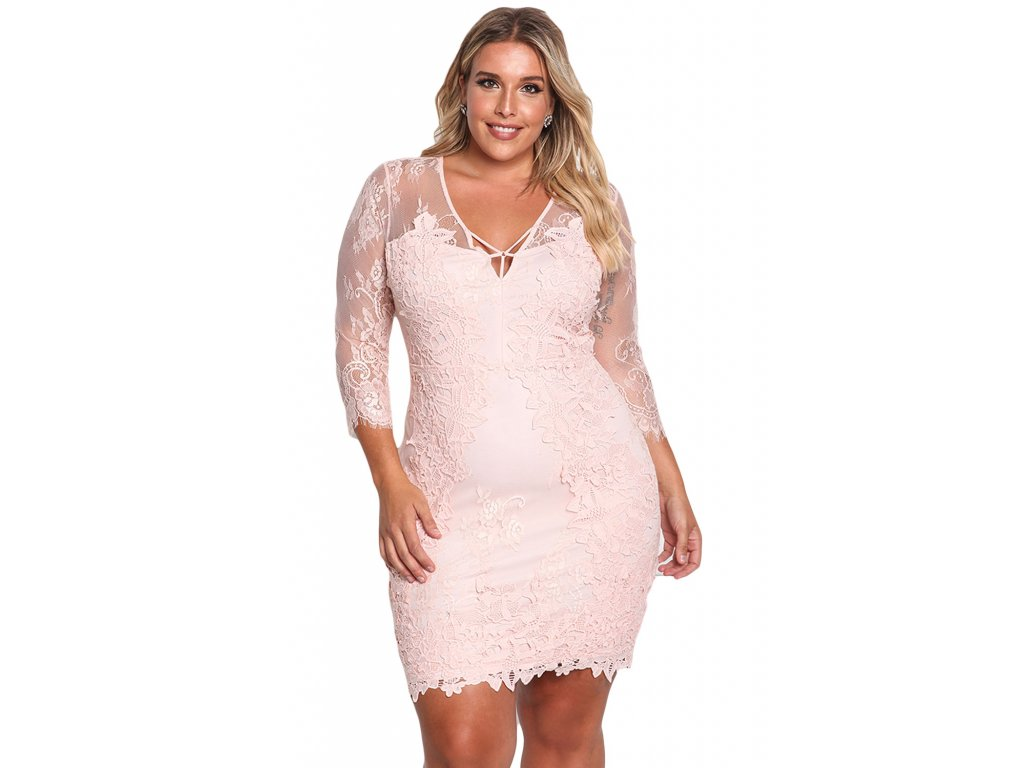 c1e7118993c0 Pink Plus Size Floral Lace Embroidered Dress LC220134 10 1