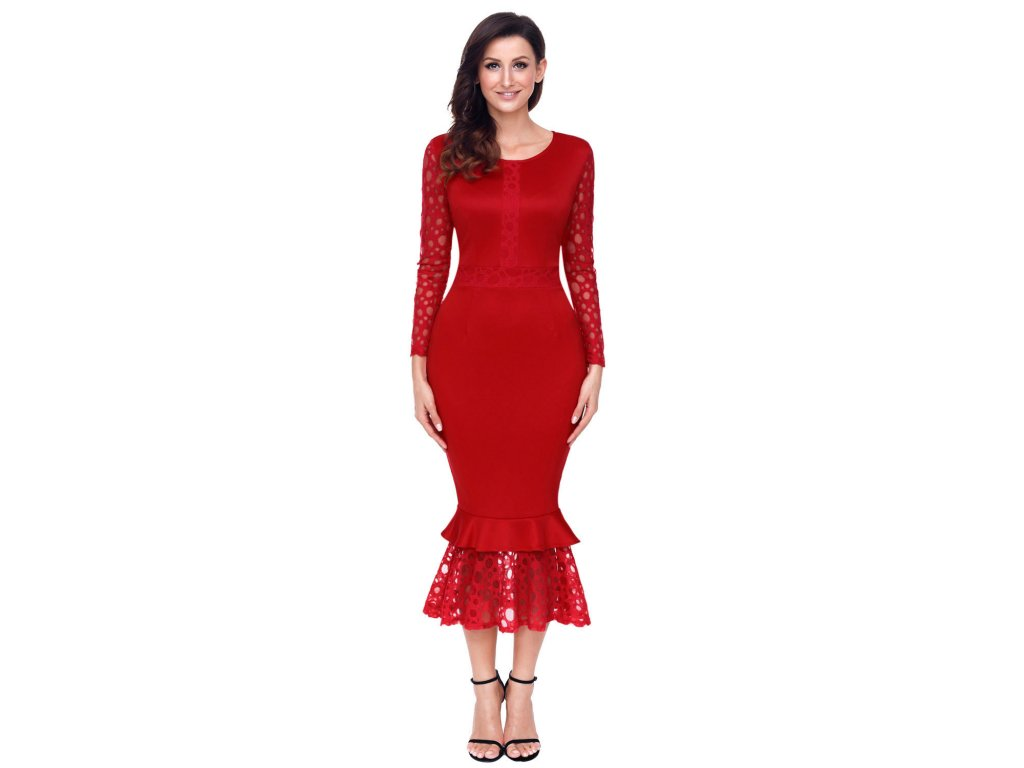 Red Hollow out Long Sleeve Lace Ruffle Bodycon Midi Dress LC61801 3 1 1810d501375