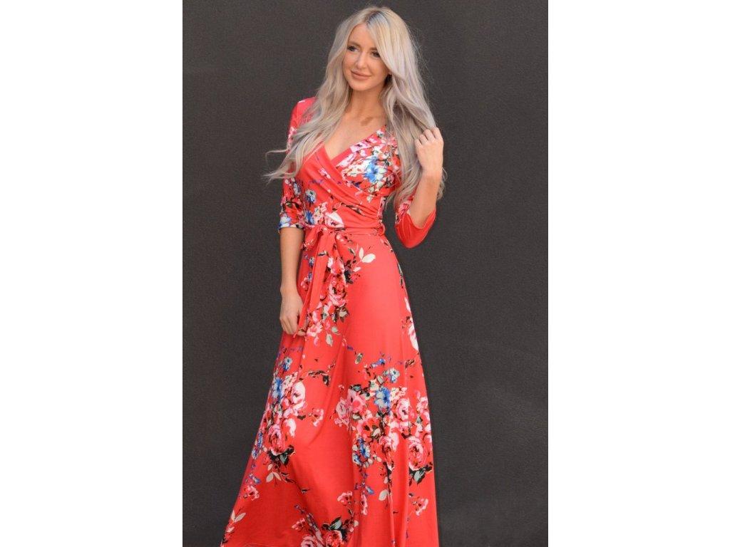 Dlhé červené kvetinové šaty  b72266849f