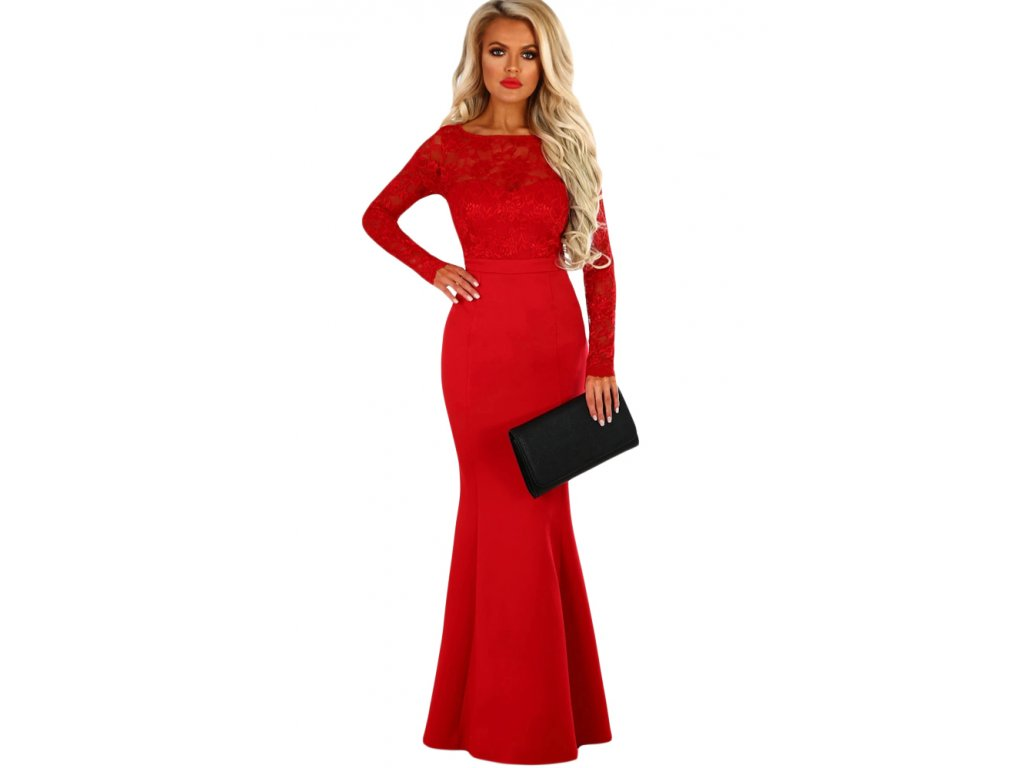 Spoločenské šaty v červenej s mašľou  6e60b28a922