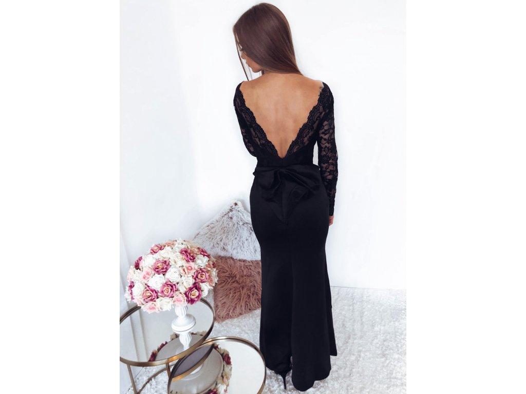 Spoločenské šaty v čiernej s mašľou  155088e101e