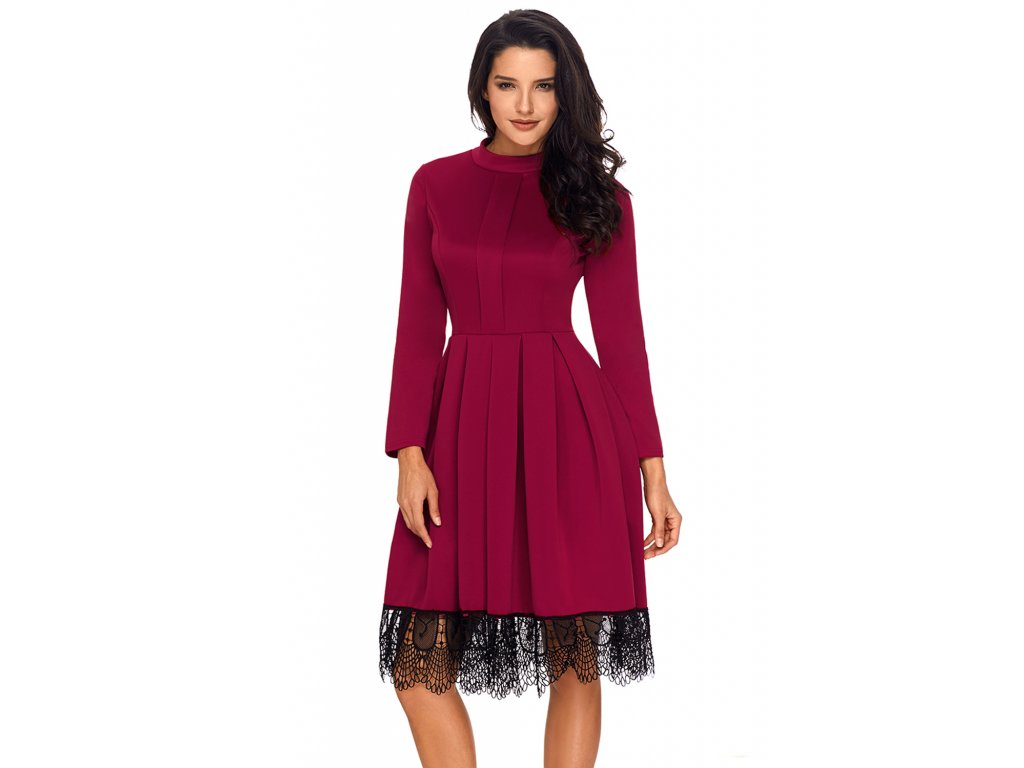 Bordové šaty s dlhým rukávom a krajkou na sukni  96d54581cef